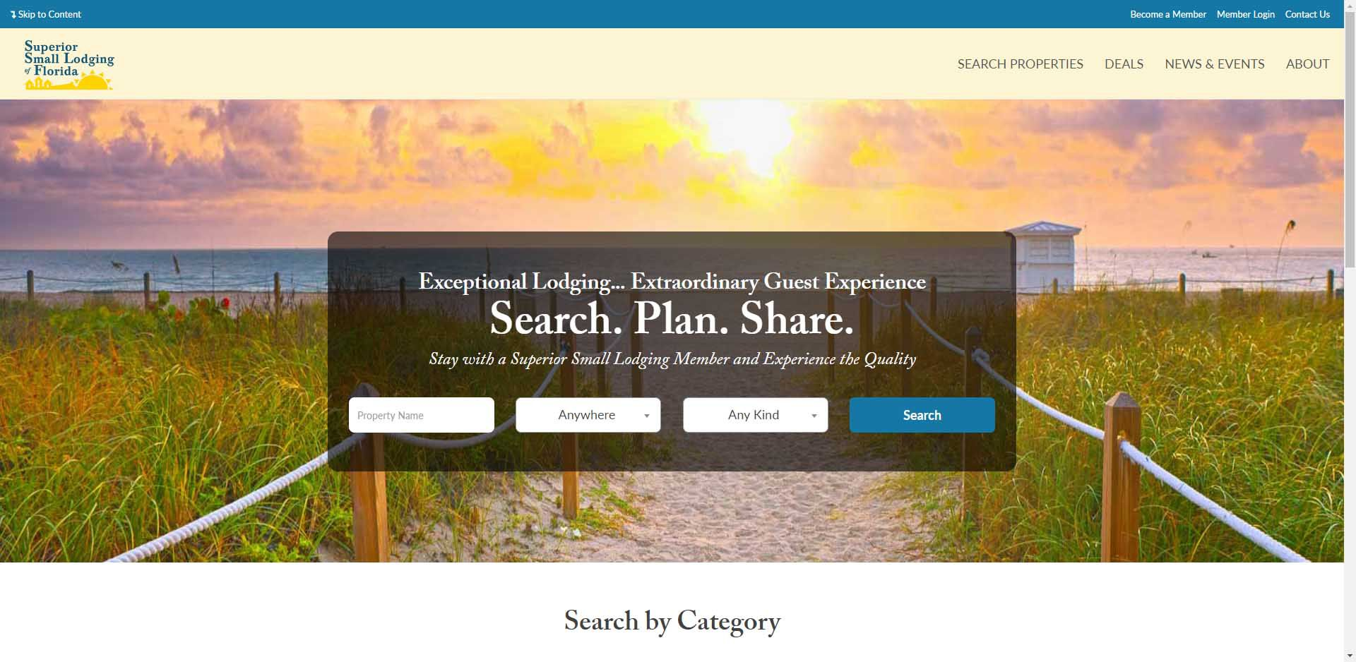 screenshot of superior small lodging's home page